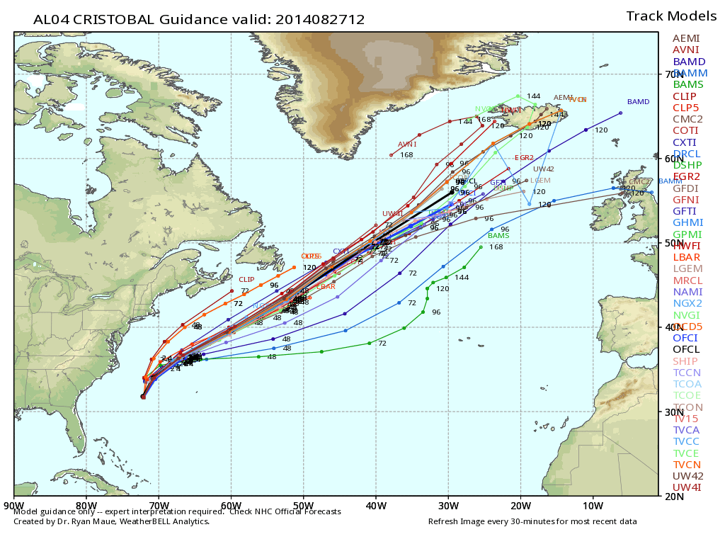 track for hurricane cristobal is expected to steam out to the northeast