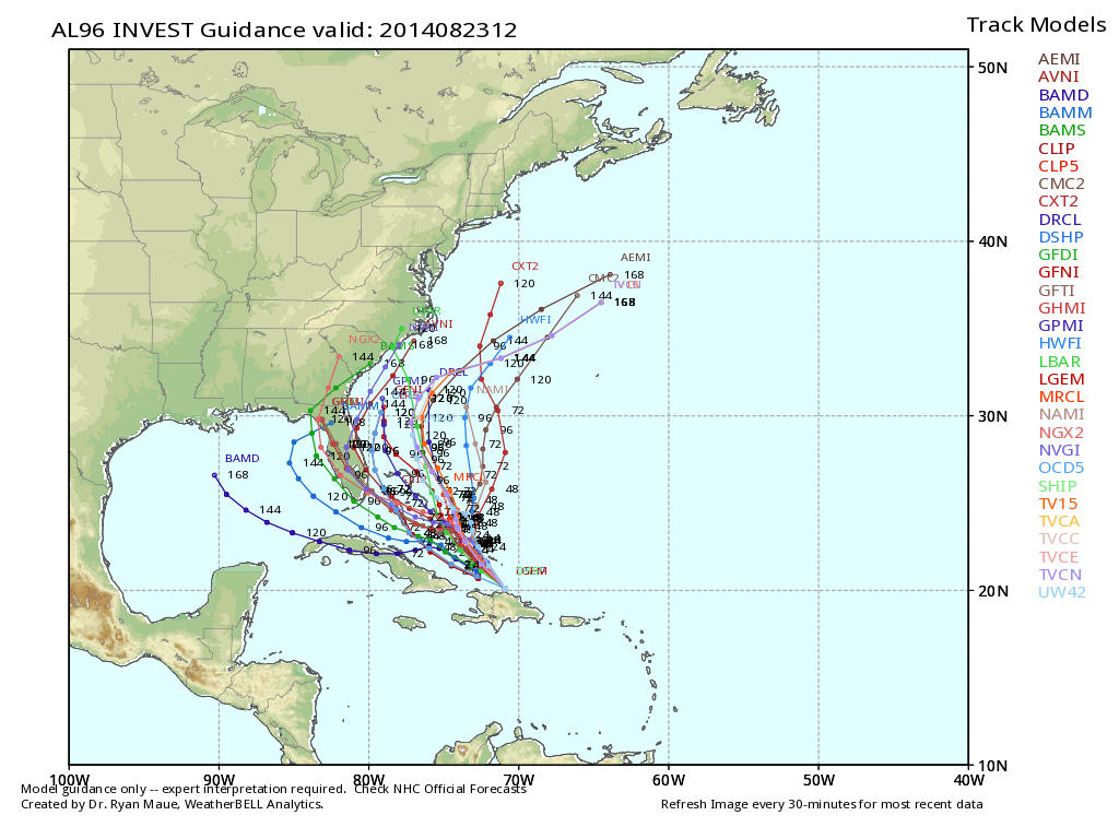 tropical spahgetti models for invest 96L show ane xpected track near the east coast
