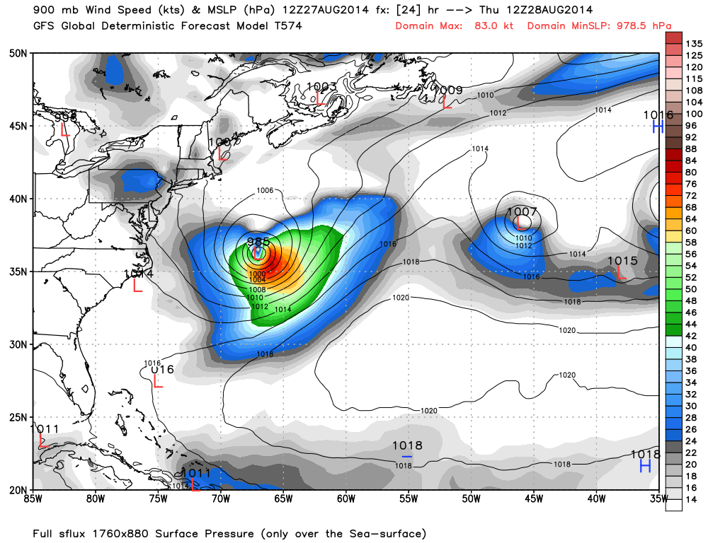American GFS model shows expected position of hurricane cristobal on Thursday morning at 8AM