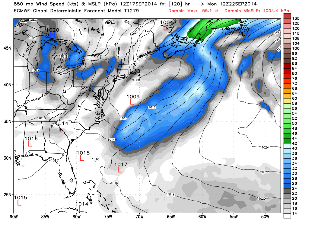 european model showing weak coastal low pressure disturbance