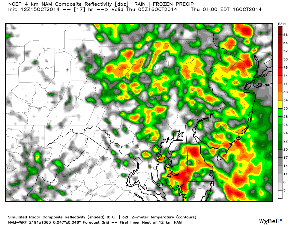 high res NAM showing wind and rain