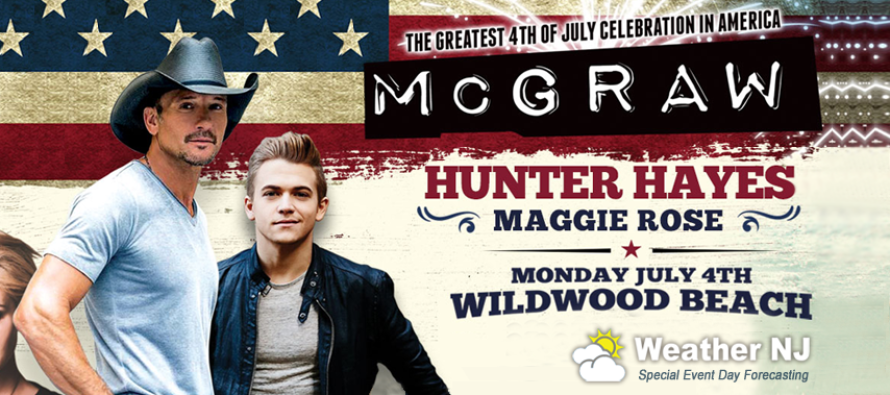 July 4th – Tim McGraw Beachfront Concert in Wildwood NJ!