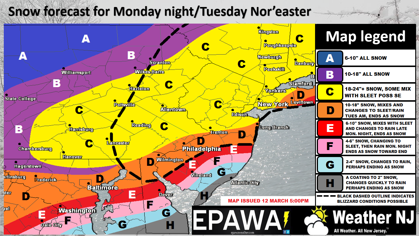 snow map for Monday-Tuesday in New Jersey winter storm with potential blizzard